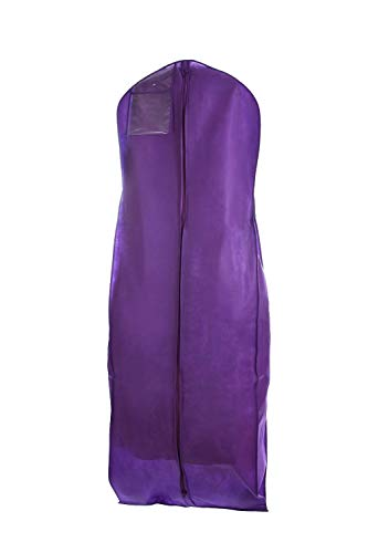 Bags for Less Purple Wedding Gown Travel and Storage Garment Bag Soft, Breathable, Durable, Rip and Water Resistant Material Large Size with 10 inch Gusset Clear Vinyl Pouch