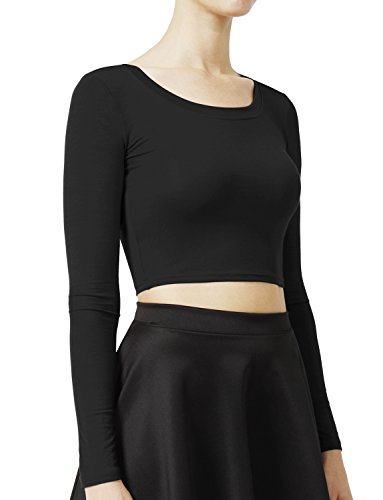 NE PEOPLE Solid Long Sleeve Scoop Neck Crop Top