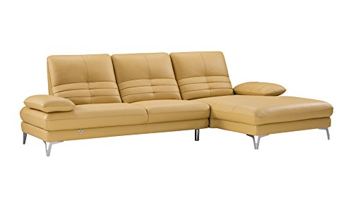 American Eagle Furniture EK-L070L-YO Brisbane Modern Italian Leather Right Facing Sectional, 115