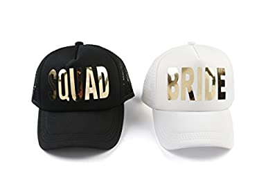 weeding party Bachelorette Party Bride White Cap Gold Metalllic Trucker Hats