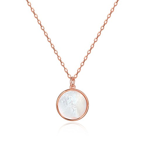 (S.Leaf Minimalism Round Mother of Pearl Necklace Sterling Silver Circle Disc Pendant Shell Pendant (Rose))