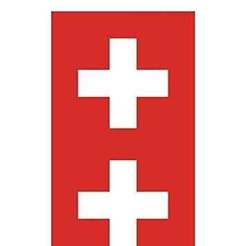 Two Pack Swiss Flag Sticker FA Graphix Decal Self Adhesive Vinyl Switzerland CHE CH fagraphix 2339CFBFA-2-FA8004