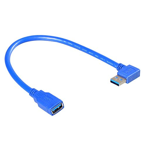 Smays Left Angle USB 3.0 Male to Female Extension Cable (1 Foot = 30 Centimeters, Blue)