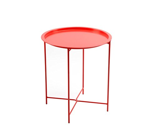 Finnhomy Small Round Side End Table, Sofa Table, Tray Side Table, Snack Table, Metal, Anti-Rusty, Outdoor and Indoor Use for Putting Small Things, Multi-use (Outdoor Side Table Mosaic)