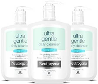 Neutrogena Ultra Gentle Daily Facial Cleanser for Sensitive Skin, Oil-Free, Soap-Free, Hypoallergenic & Non-Comedogenic Foaming Face Wash, 12 Fl Oz (Pack of 3)