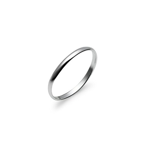 High Polish 2mm Plain Comfort Fit Wedding Band Ring Sterling Silver, Size 91/2
