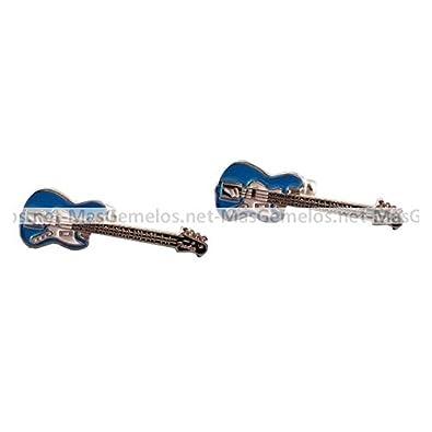 MasGemelos - Gemelos Guitarra Electrica Azul Cufflinks: Amazon.es: Joyería
