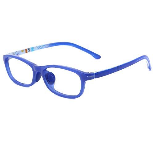 modesoda Classic Kids Non Prescription Glasses Frame,Rectangular Optical Eyeglasses Graffiti Arm for Girls Boys Blue ()