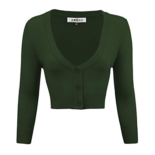 YEMAK Women's Cropped 3/4 Sleeve Bolero Button Down Cardigan Sweater CO129-HGR-S Hunter Green