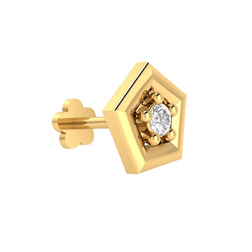 Animas Jewels DGLA Certified 14k Yellow Gold Solitaire Stud Nose Pin for Women 0.03 Cttw Natural Diamond (H-I Color. I1 Clarity) Round Cut Prong Setting. Available in 6 mm & 8 mm Length (8) ()