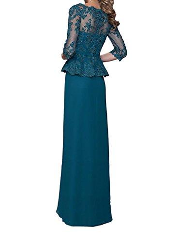 Blau Gruen Ballkleider Brautmutterkleider Langarm Abendkleider Abschlussballkleider Neu Braut La mia Lang Spitze Chiffon Promkleider xY7EqXOqw
