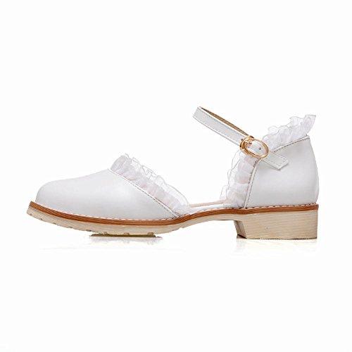Bout Femmes Ronde Blanc Escarpins MissSaSa Loisir Petit Talons Chaussures UFqPw