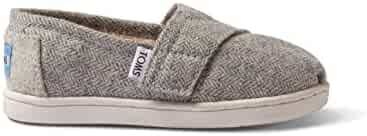 TOMS Kids Baby Girl's Seasonal Classics (Infant/Toddler/Little Kid) Light Grey Herringbone/Shearling Loafer 10 Toddler M