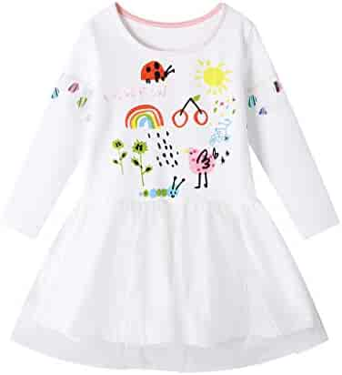 QixinWluo Toddler Baby Girl Clothes Striped Ruffle Short Sleeve Floral Printed Swing Hem Party Princess Dress