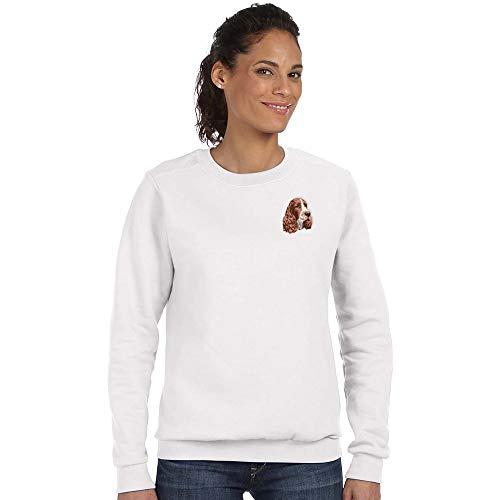 Cherrybrook Breed Embroidered Anvil Ladies Crew Sweatshirt - Large - White - English Springer Spaniel