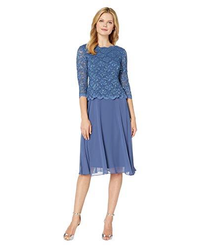 Alex Evenings Women's Sequin Lace Mock Dress (Petite and Regular), Wedgewood, 14