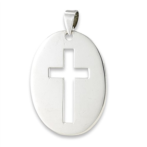 (Open Cross Pendant .925 Sterling Silver Simple Classic Oval Christian Charm)