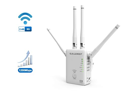 WiFi Extender, GALAWAY Upgraded AC1200 Dual Band WiFi Range Extender Wireless Repeater Internet Signal Booster with 4 High Power External Antennas 2 Ethernet Ports for Whole Home WiFi Coverage