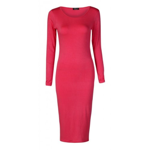 Girl Sleeve Clothing Scoop Midi Candy Long Women's Cerise Neck Dress v6pdnpqwFx
