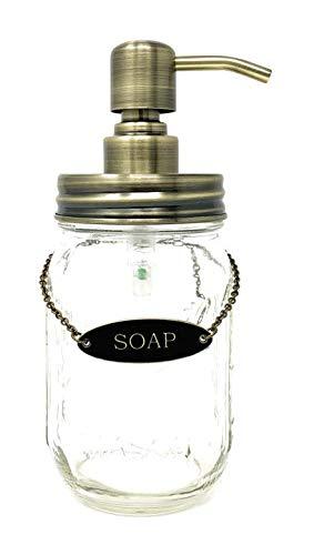 KreaSHen Mason Jar Soap Dispenser (Gold Brass) with Soap/Lotion Label Tag (Soap Brass Dispenser Decorative)