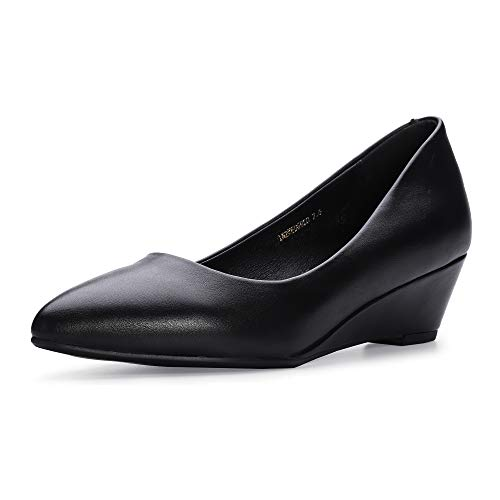 IDIFU Women's IN2 Wedge-LO Classic Low Heel Wedge Pump Closed Pointed Toe Slip on Office Work Shoes (6.5 M US, Black Pu)