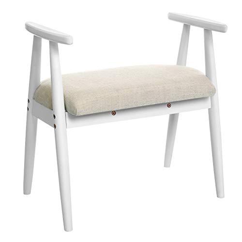 (VASAGLE Shoe Bench, Upholstered Vanity Stool with Armrests, Solid Rubberwood Frame, Load Capacity 286 lb, for Entryway, Bedroom, Living Room, White URSB01WT)