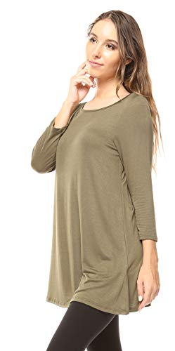Free to Live Women's Flowy Elbow Sleeve Jersey Tunic Blouse Top Made in USA (XL, Olive)