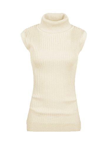v28 Women Sleeveless High Neck Turtleneck Stretchable Knit Sweater Top-M,Beige