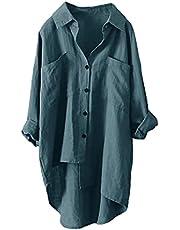 Darringls Lang shirt dames basic lange T-shirts grote maten blouse top button down shirts tuniek tops oversize pullover t-shirt V-hals T-shirt T-shirt T-shirt