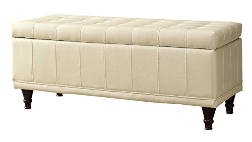Leather Accent Bench (Homelegance Lift Cushioned Top Storage Bench with Tufted Accents Faux Leather,)
