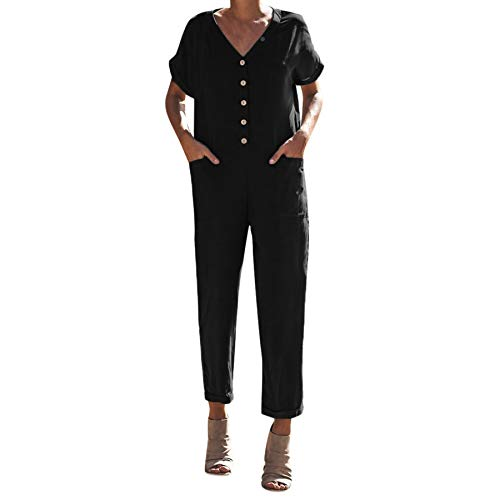 Women's Romper Button Front Pocket Side Short Sleeve Rolled Hem Solid Utility Jumpsuit Baggy Long Clubwear Playsuit Black ()