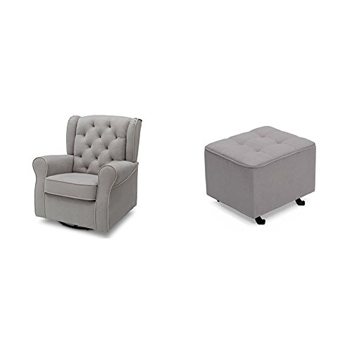 Delta Furniture Emerson Glider Swivel Rocker Chair with Tufted Gliding Ottoman, Dove Grey with Soft Grey Welt by Delta Furniture