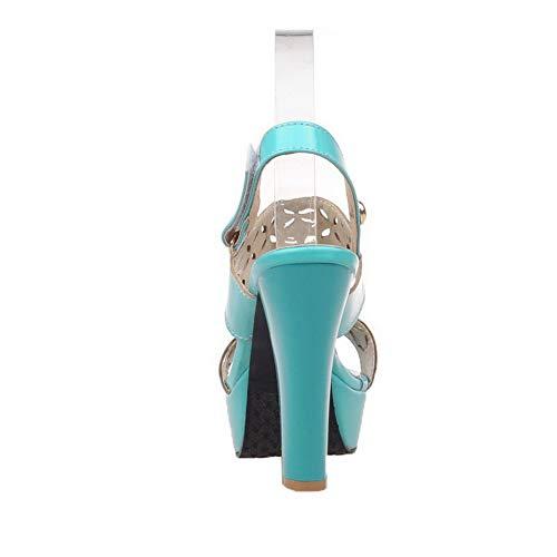Unie Femme Talon AalarDom Ouverture Couleur TSFLH007453 Sandales Bleu d'orteil à Haut Xq1wEdw