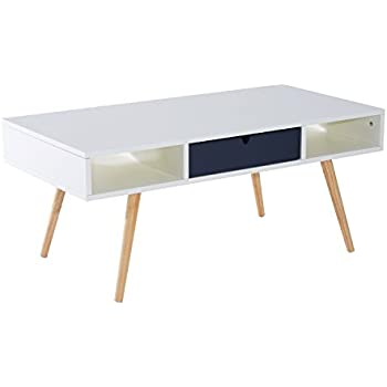 "HomCom 40"" Mid Century Modern Coffee Table - White/Gray"