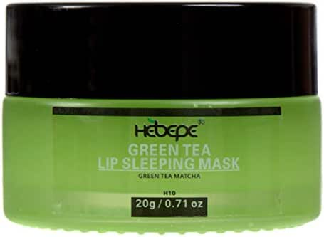 Hebepe Moisturizing Lip Sleeping Mask, Matcha Green Tea, with Coconut Oil, Vitamin E, Fig Extract, Orchid, and Shea Butter, Quick Absorption Lip Treatment for Dry, Chapped, and Cracked Lip, 0.7 Ounce