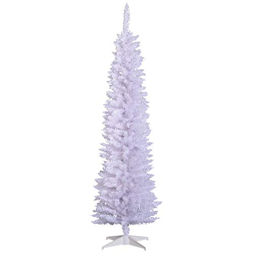 HOMCOM 6' PVC Unlit Slim Pencil Hinged Artificial Noble Fir Christmas Tree with Metal Stand, 390 Branch Tips- White