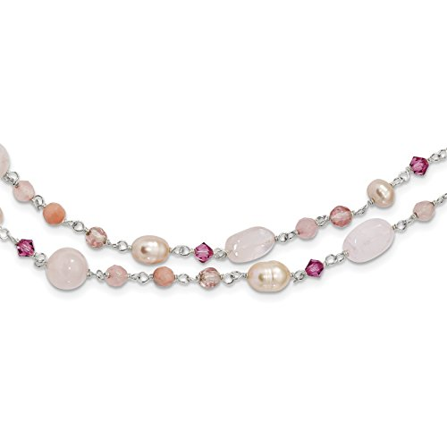 ICE CARATS 925 Sterling Silver Pink Freshwater Culturedultpearl/cherry Rose Quartz/peach Jade/rosaline Chain Necklace Pearl Natural Stone Fine Jewelry Gift Set For Women Heart by ICE CARATS