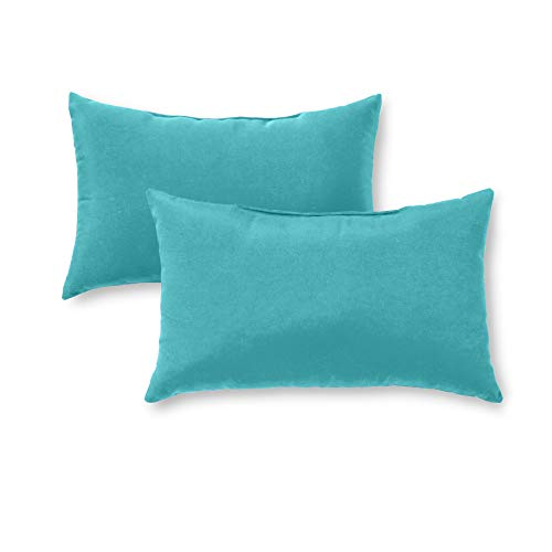 Greendale Home Fashions OC5811S2-TEAL Rectangle Outdoor Accent Pillow, Set of 2, Teal