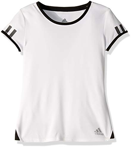 adidas Junior Girls' Club Tennis Tee, White, Small
