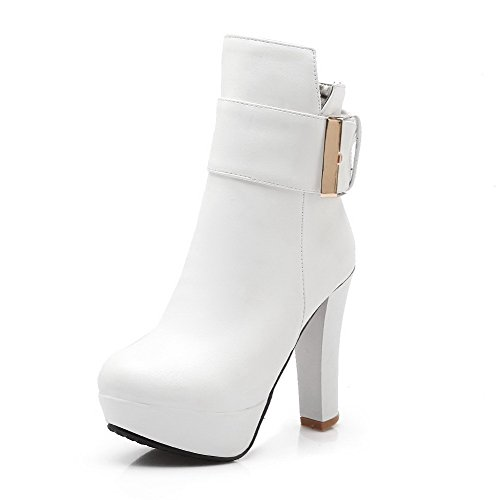 Low Heels Solid Women's Boots top PU White High Zipper AmoonyFashion pZxwRp