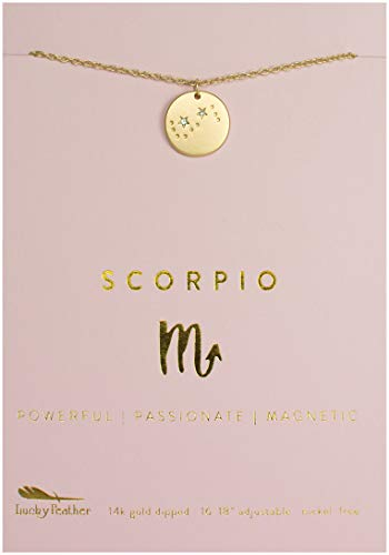Lucky Feather Scorpio Zodiac Sign Constellation Pendant Necklace for Women, 14K Gold-Dipped with Adjustable 16  18 Chain