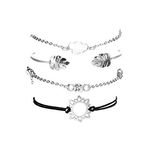 Psunrise Pulsera Fashionable Leaf Openwork Flower Diamond Cloud Combination Bracelet Four-piece Rope Chain(Silver) from Psunrise