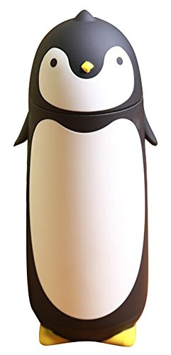 - 280ml stainless steel cute penguin cup thermos flask vaccum flask (black)
