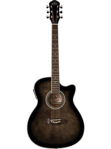 Florentine Cutaway (Oscar Schmidt OACEF-TB Auditorium Style Cutaway Acoustic-Electric Guitar -Transparent Black)