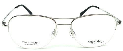 EXCELLANT Men's Titanium Half Rimless Silver Aviator Prescription Rx Eyeglass Frames - Aviator Rimless Eyeglasses