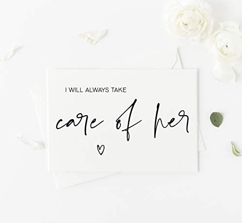 I Will Always Take Care of Her Wedding Day Card To Parents in Law, Gift for Brides Mother Father