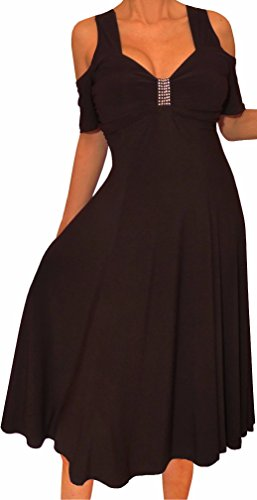 Funfash KS09 Plus Size Women Open Shoulder A Line Black Cocktail Cruise Dress XL