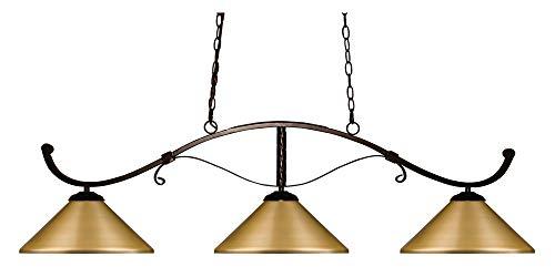 (Z-Lite 148BRZ-MSG Howler - Three Light Island/Billiard, Bronze Finish with Satin Gold)