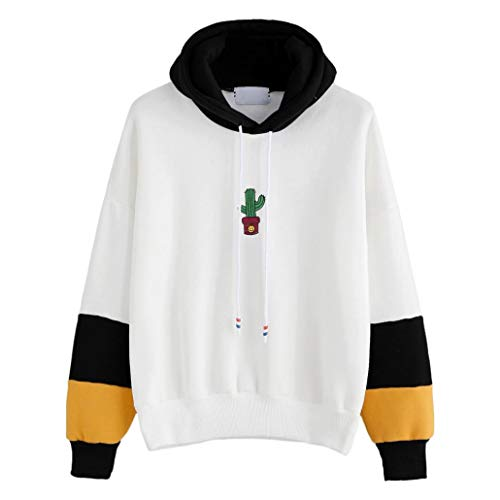 GOVOW Women Cotton Casual Soft Long Sleeve Cactus Print Hoodie Sweatshirt Hooded Pullover Tops Blouse