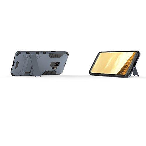 TPU y caja de soporte rígido de protección completa de plástico para Samsung Galaxy S9 ( Color : Blue ) Black Blue
